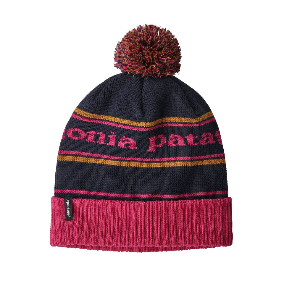 Patagonia Powder Town Beanie Park Stripe Craft Pink With Navy Blue - Stencil