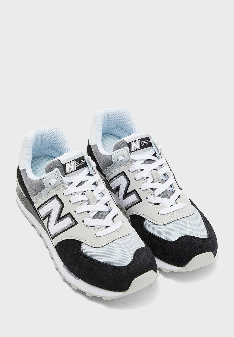 New Balance 574 Black with White - Stencil
