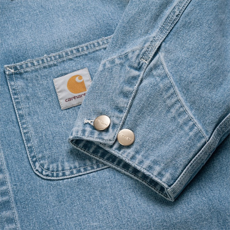 Carhartt Michigan Coat Blue Worn Bleached