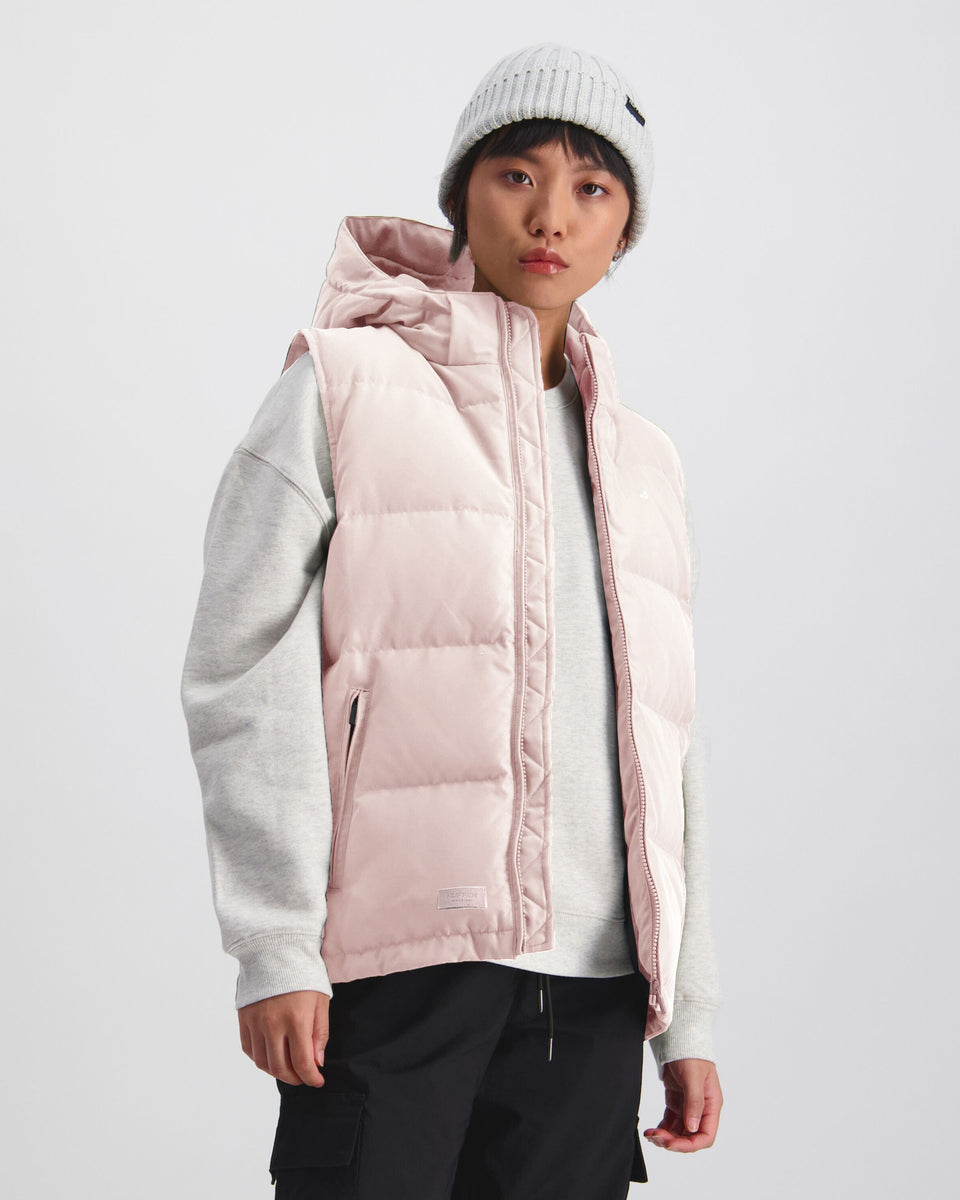 Huffer Womens Classic Down Vest Dusky Pink - Stencil