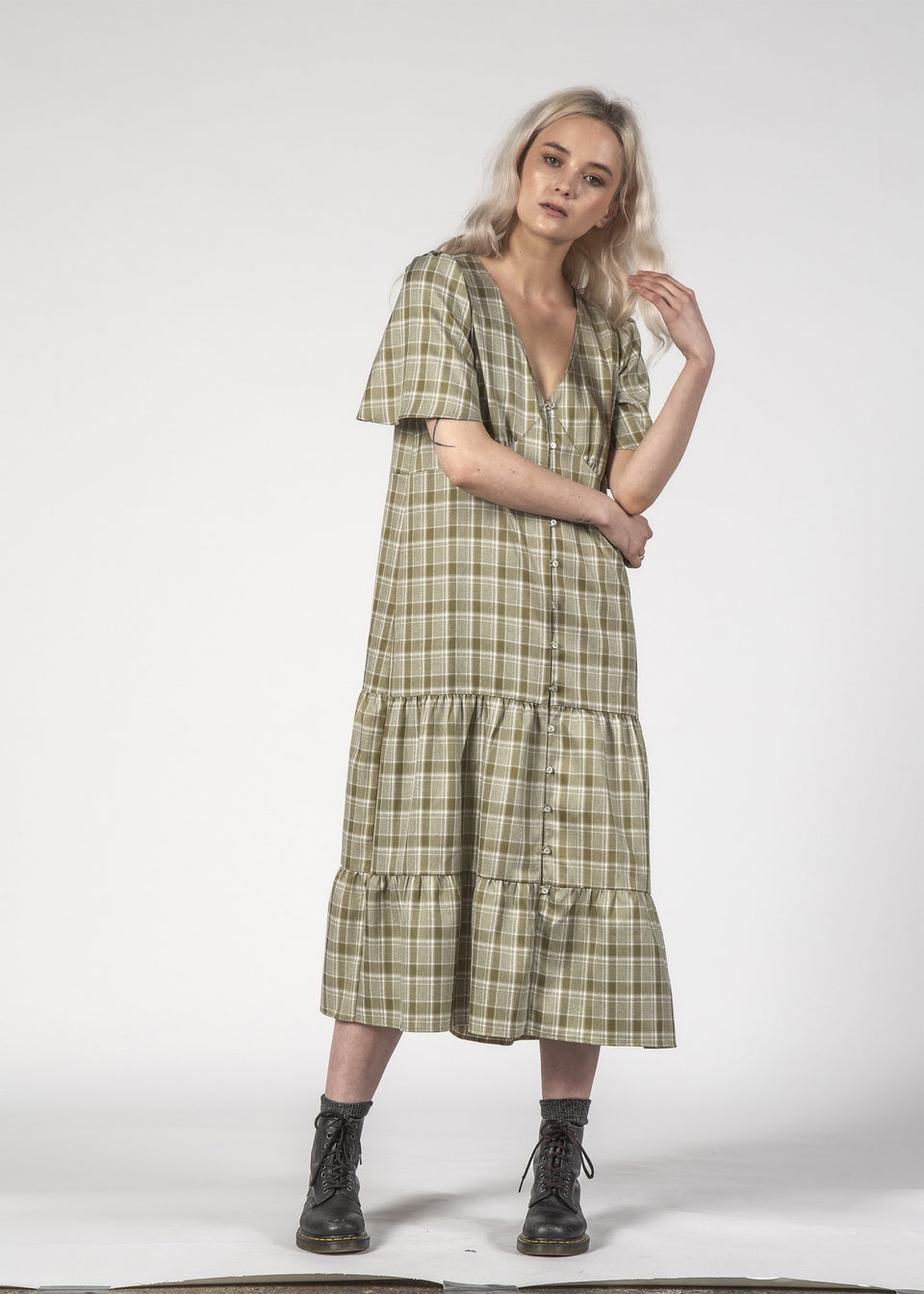 Thing Thing Happy Days Dress Olive Check