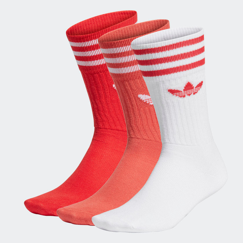 Adidas Solid Crew Socks Lush Red/Still Orange/White 3PK - Stencil