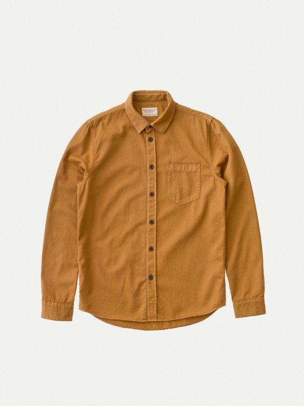 Nudie Henry Pigment Dyed Shirt Camel - Stencil