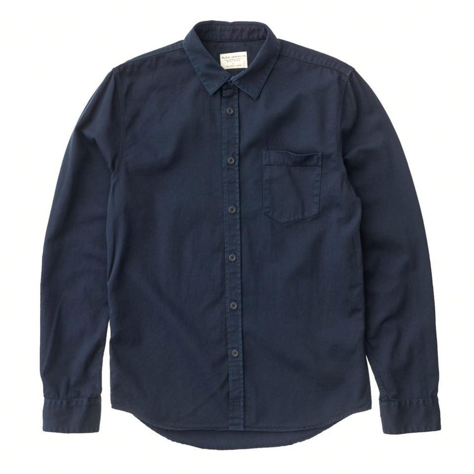 Nudie Henry Shirt Pigment Dyed Navy - Stencil