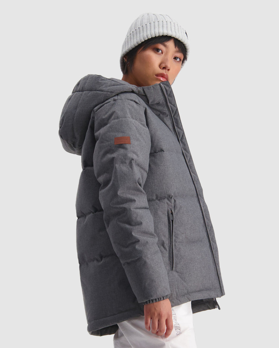 Huffer Womens Classic Down Jacket Herringbone Grey - Stencil