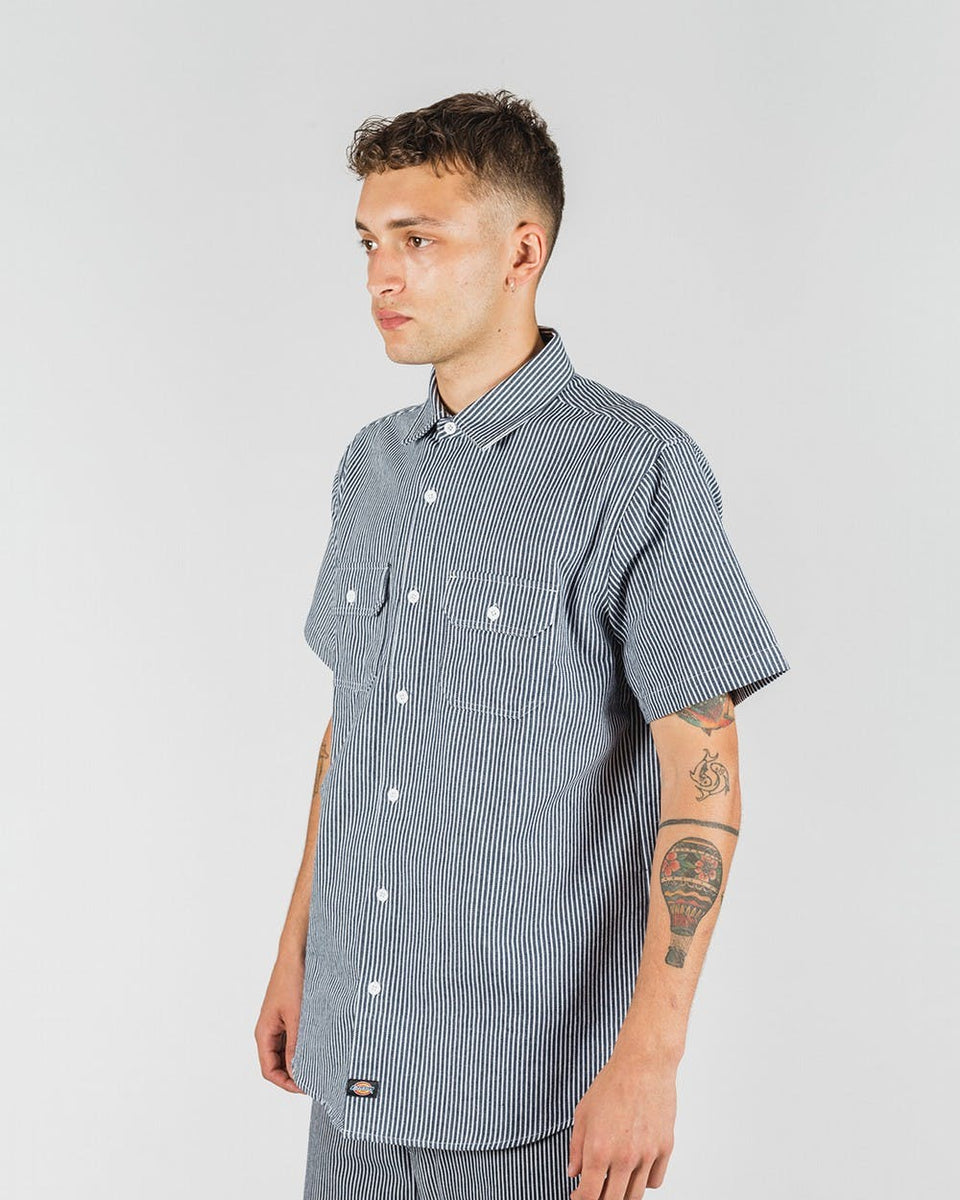 Dickies Kempton Regular Fit S/S Shirt Hickory Stripe Navy - Stencil