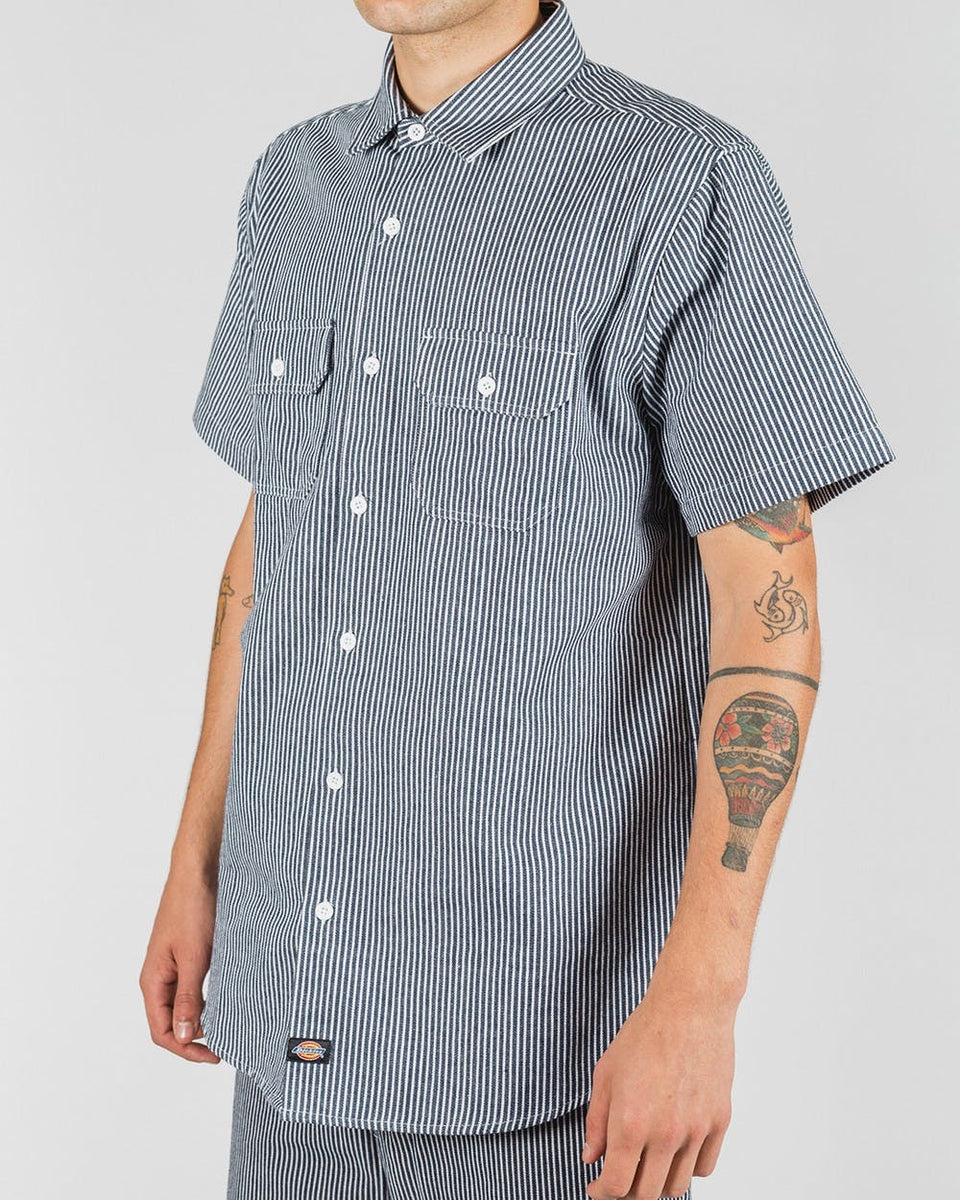 Dickies Kempton Regular Fit S/S Shirt Hickory Stripe Navy