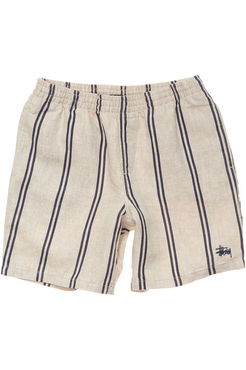 Stussy Stripe Linen Beachshort Natural