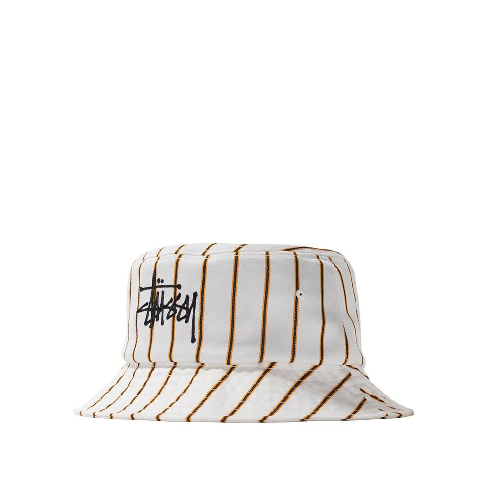 Stussy Pinstripe Graffiti Bucket Hat Off White