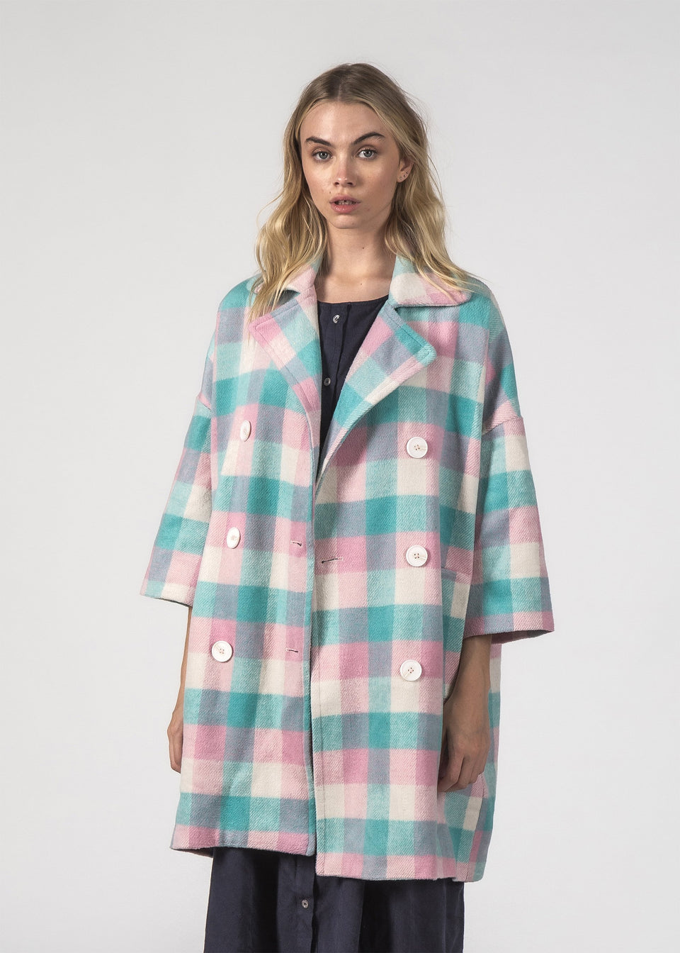 Thing Thing Trixie Coat Pastel Check - Stencil