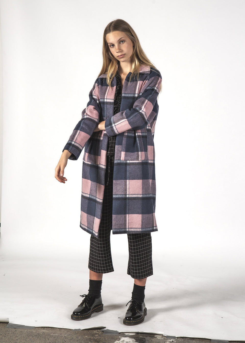 Thing Thing Quinn Coat Navy/Pink Checks - Stencil