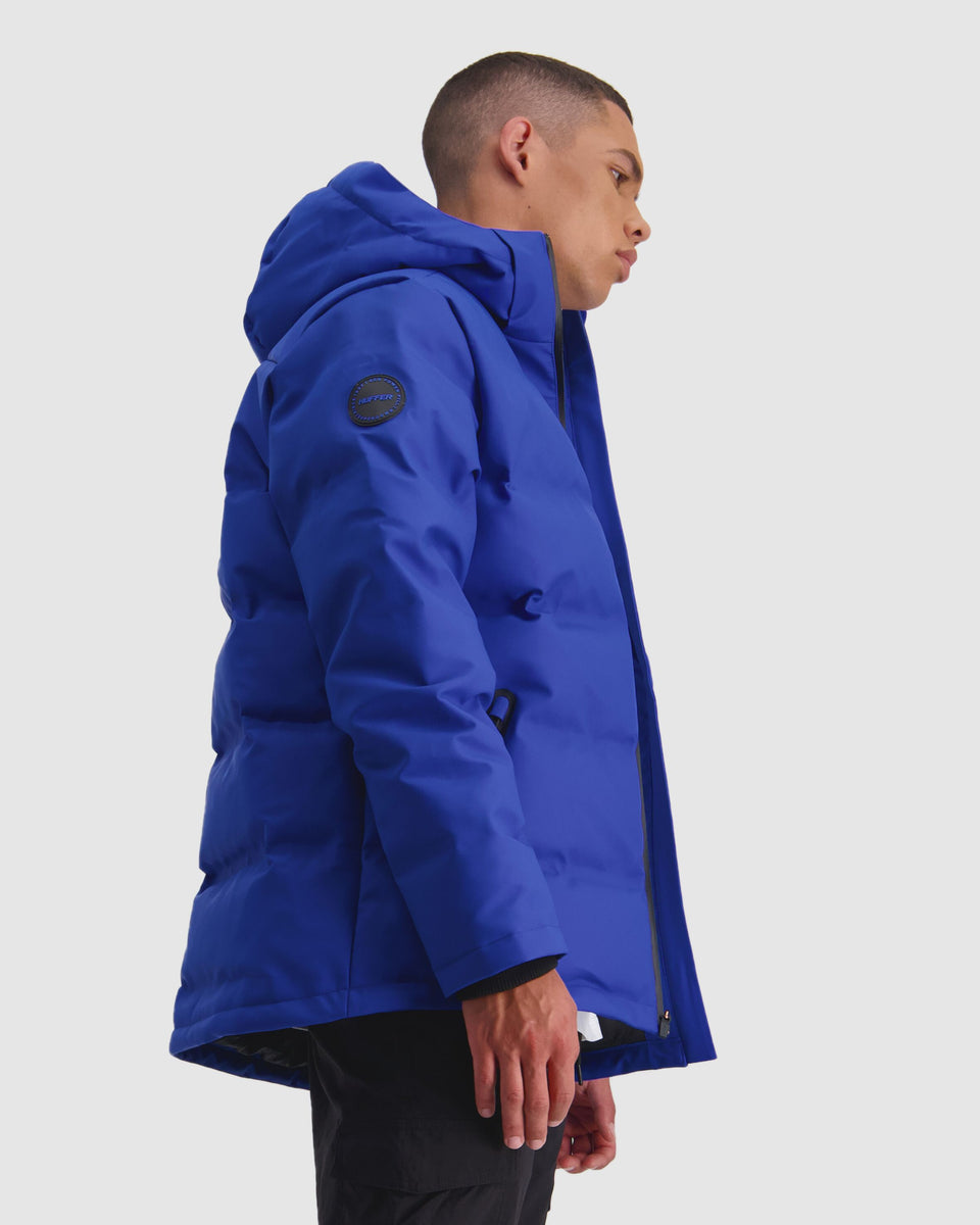 Huffer Mens Superdown Jacket Electric Blue - Stencil