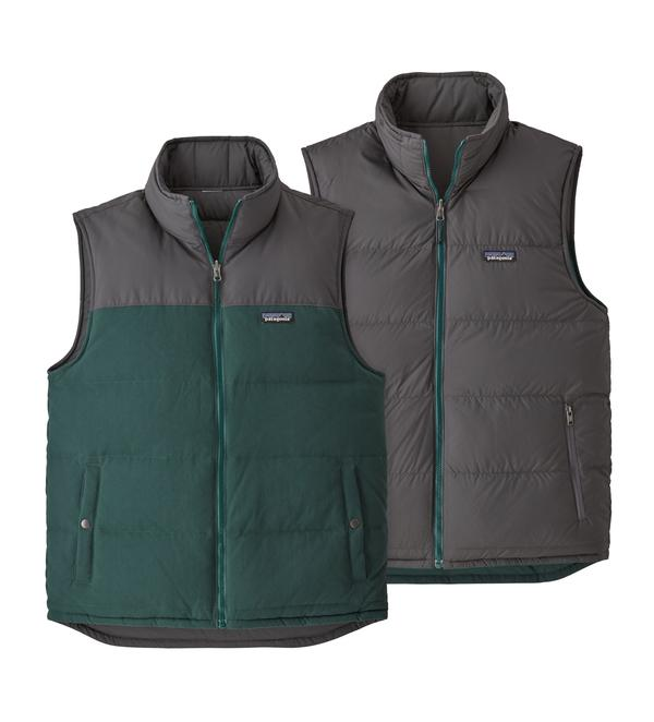 Patagonia Men's Reversible Bivy Down Vest Piki Green - Stencil