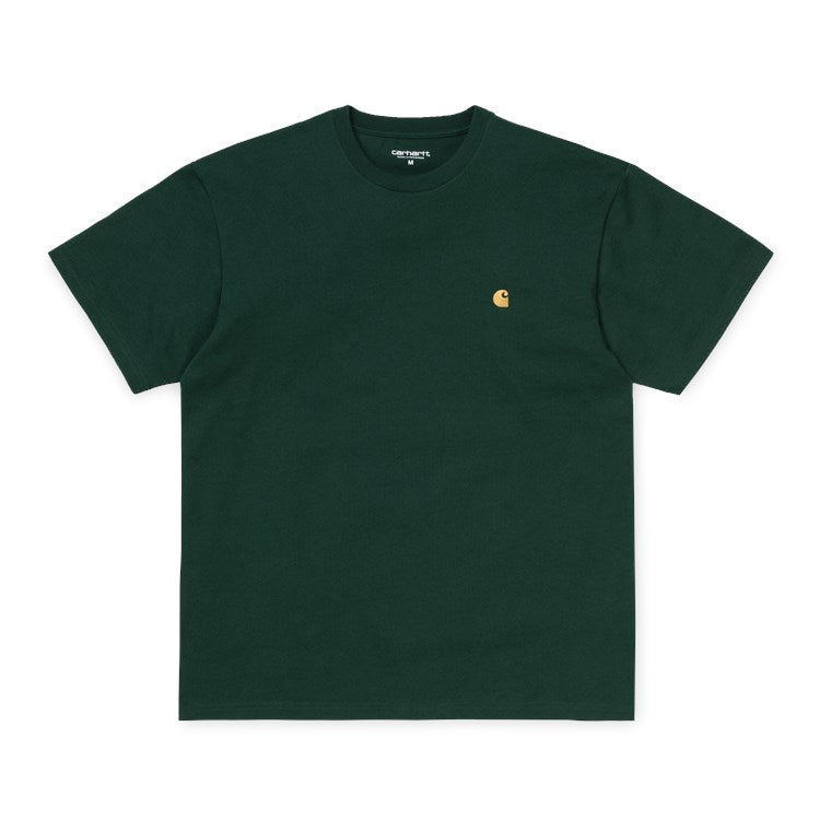 Carhartt Short Sleeve Chase T Shirt Bottle Green / Gold