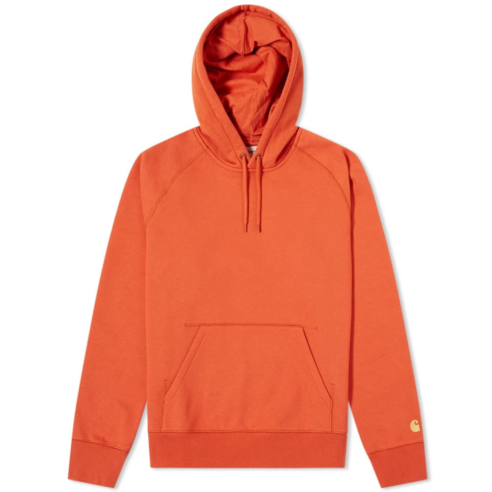 Carhartt Hooded Chase Sweat Brick Orange/ Gold - Stencil
