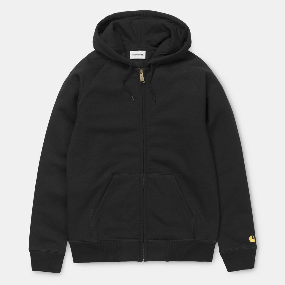 Carhartt Hooded Chase Jacket Black/Gold - Stencil