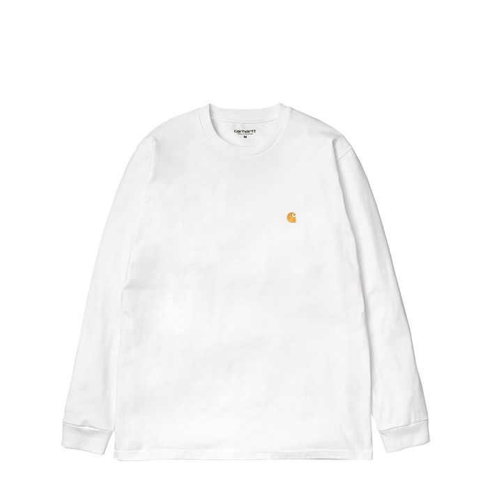 Carhartt Long Sleeve Chase T Shirt White - Stencil