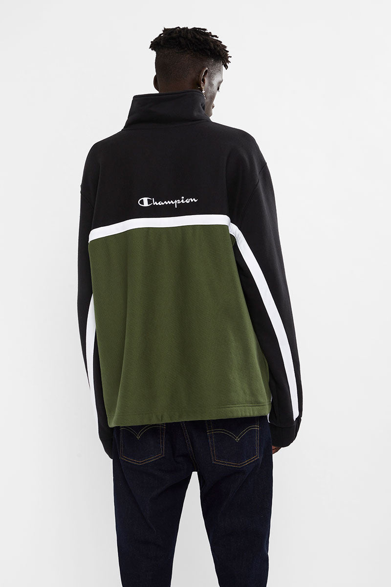Champion Reverse Weave Quarter Zip Pullover Black Green