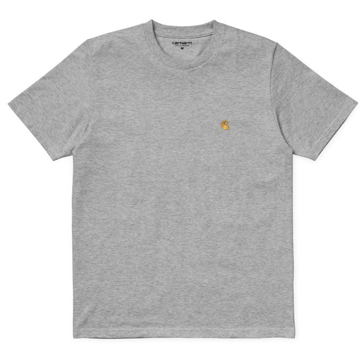 Carhartt Short Sleeve Chase T Shirt Grey Heather/ Gold
