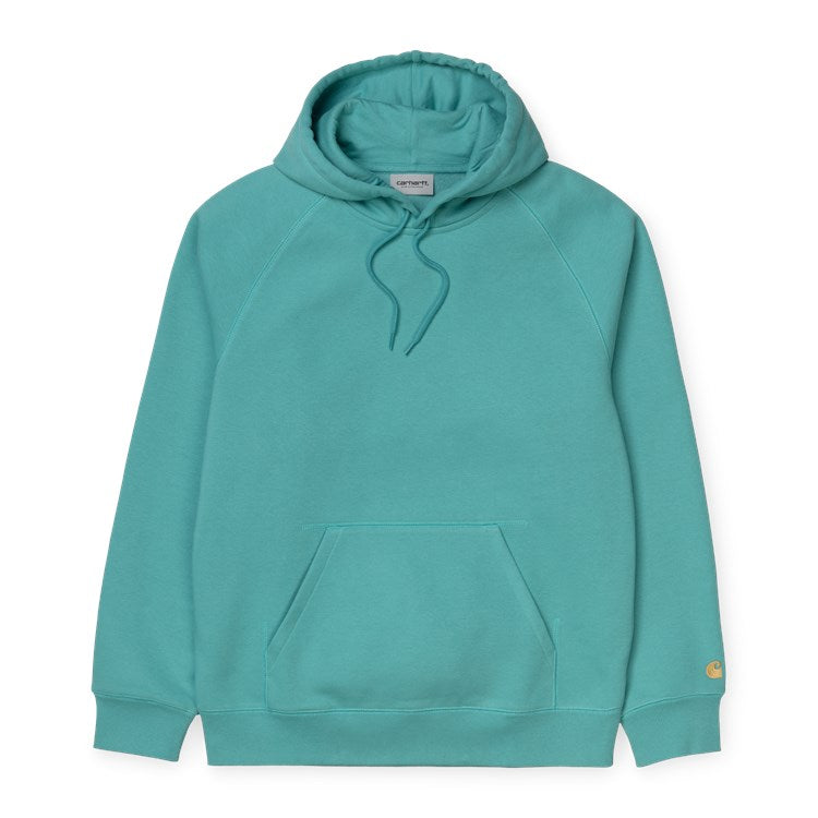 Carhartt Hooded Chase Sweat Frosted Turquoise / Gold