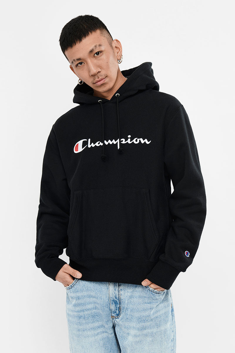 Champion Reverse Weave Hood with Script Black - Stencil