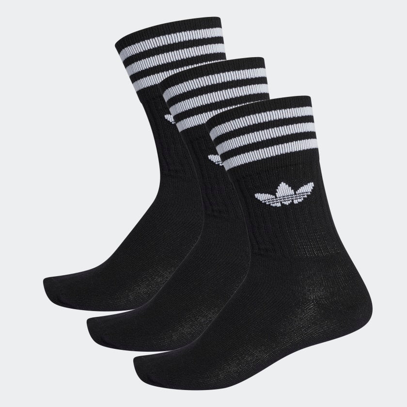 Adidas Solid Crew Socks 3pk Black/ White - Stencil