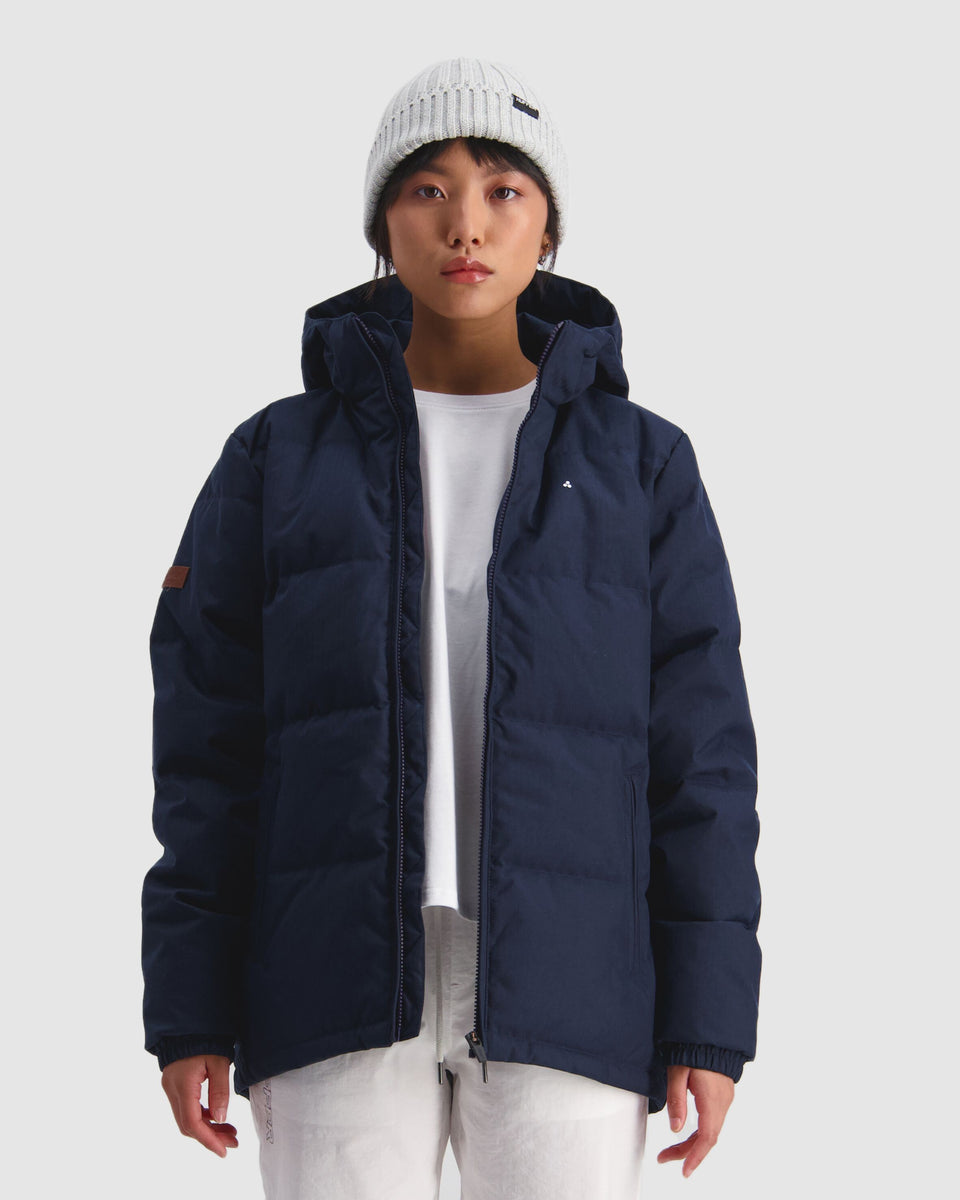 Huffer Womens Classic Down Jacket Herringbone Navy - Stencil
