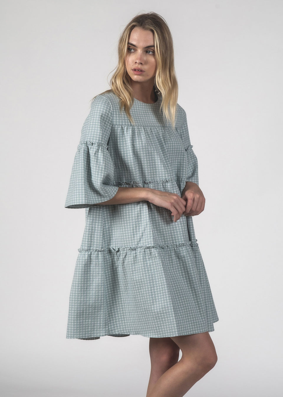 Thing Thing Easygoing Dress Sky Crosshatch