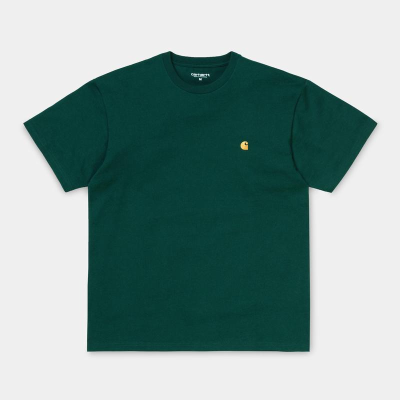 Carhartt Short Sleeve Chase T Shirt Dark Fir/ Gold - Stencil