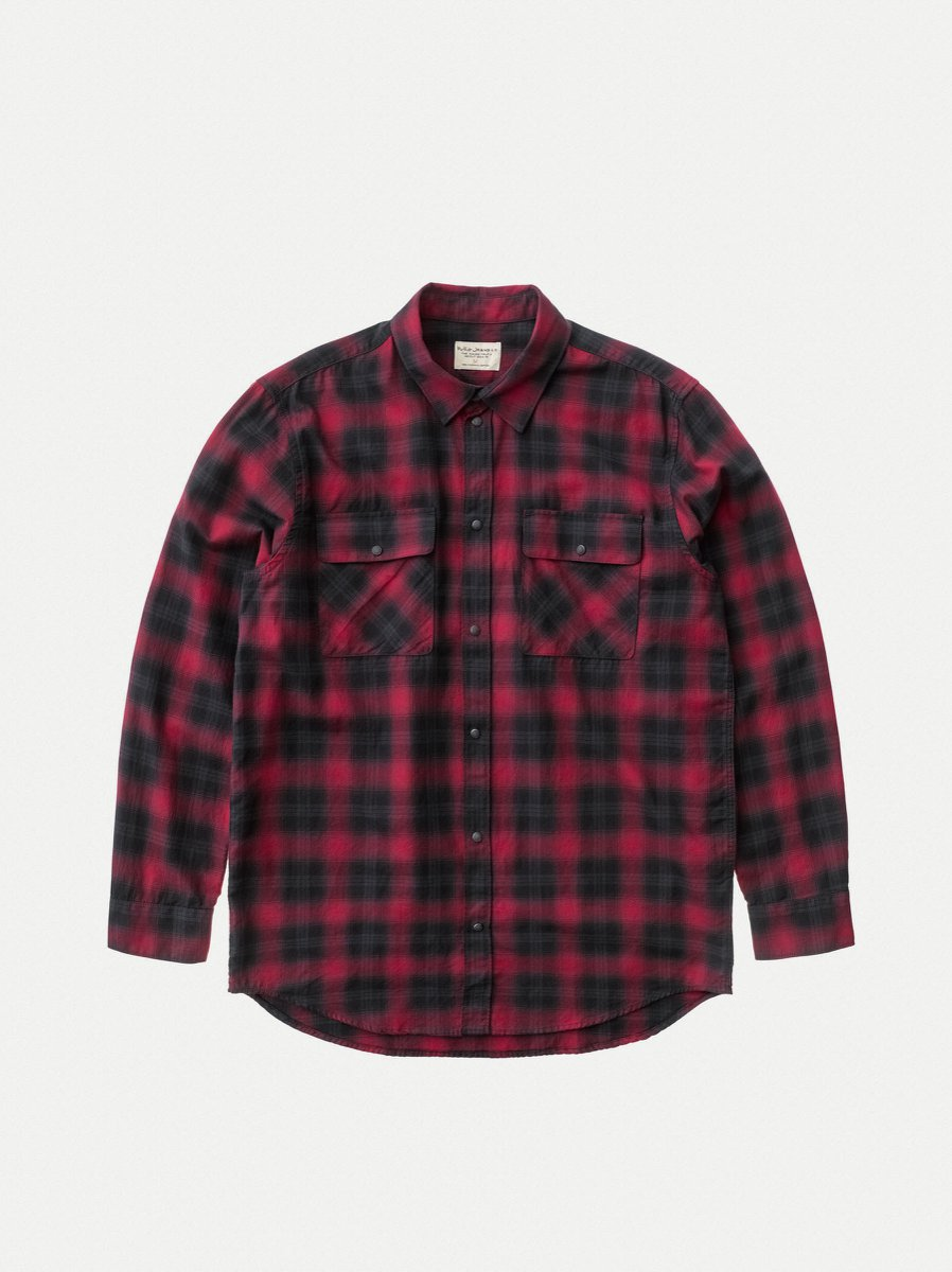 Nudie Gabe Shirt Shadow Check Cherry - Stencil