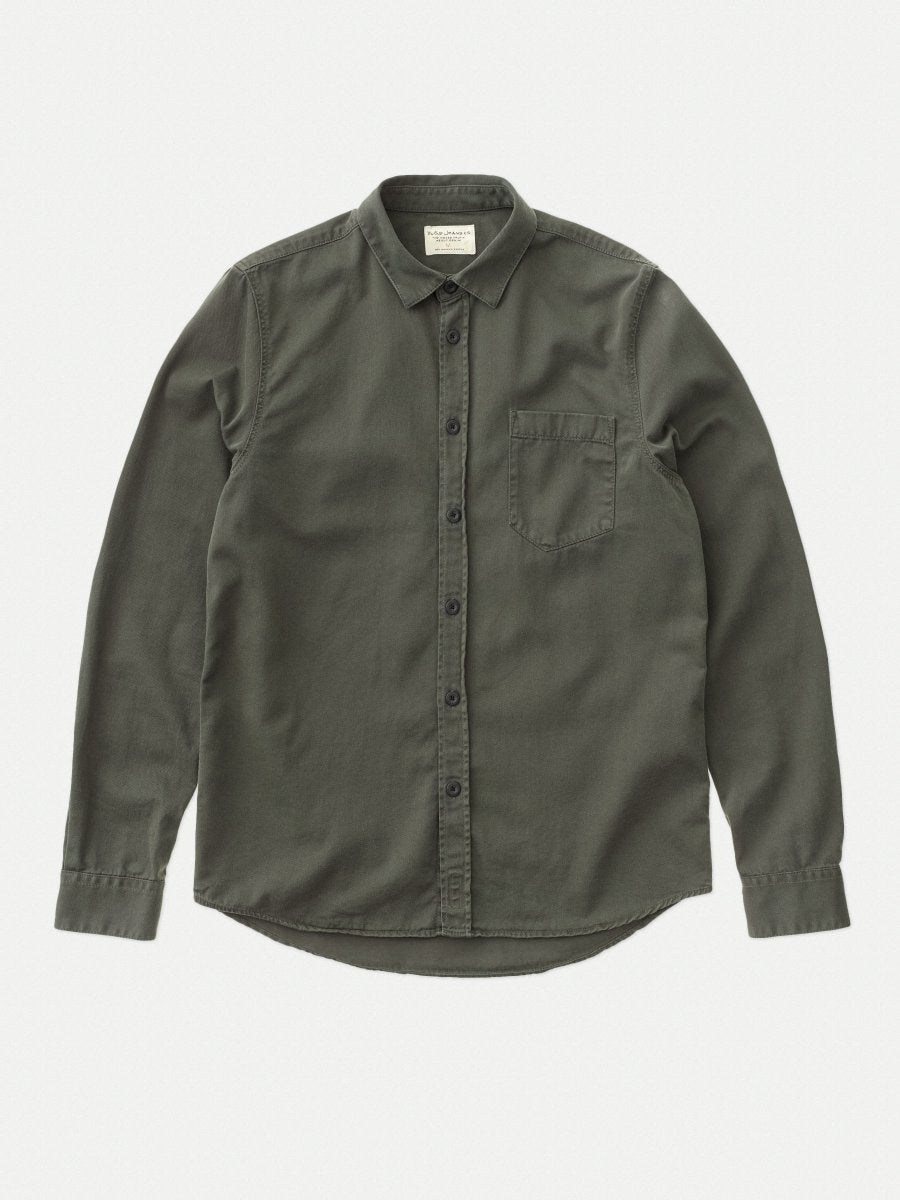 Nudie Henry Shirt Pigment Dyed Bunker