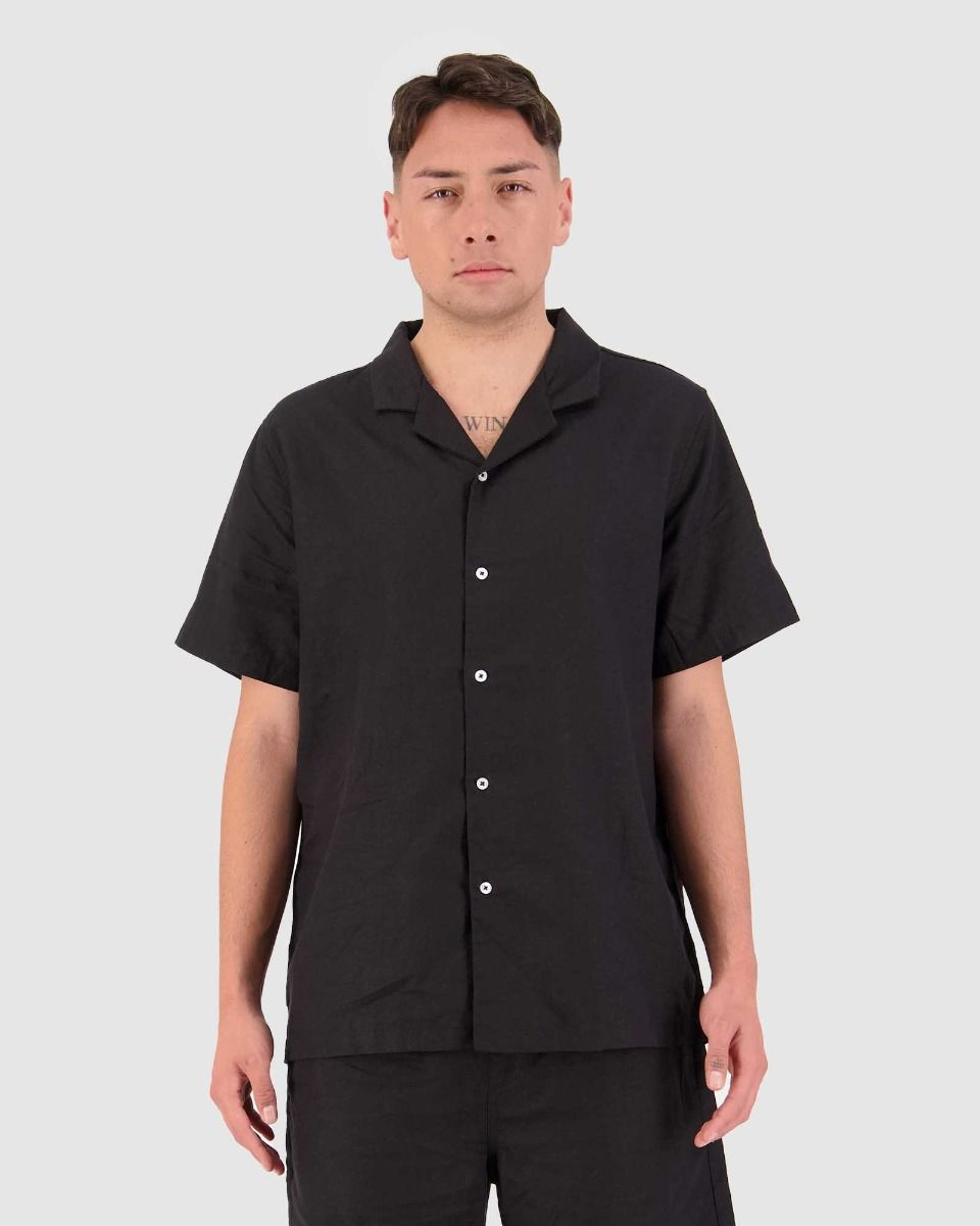 Huffer Lin-In SS Cuban Shirt - Black