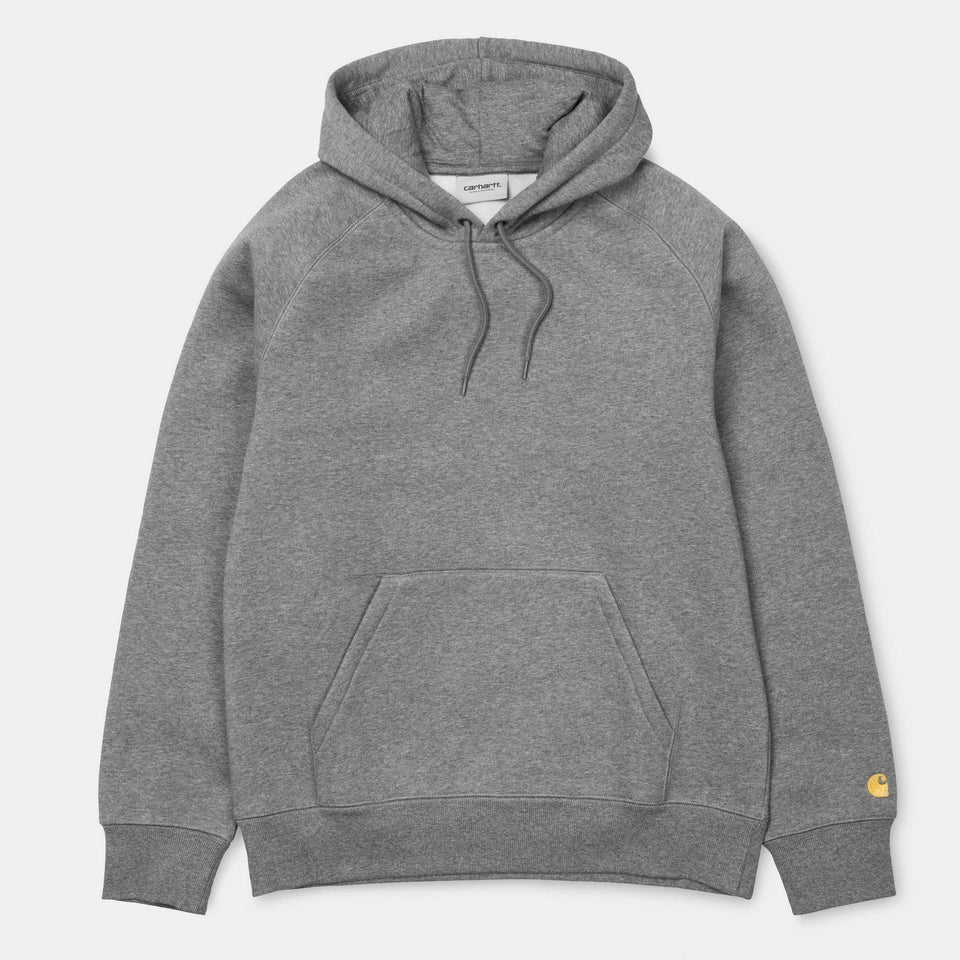 Carhartt Hooded Chase Sweatshirt Dark Grey Heather/Gold - Stencil