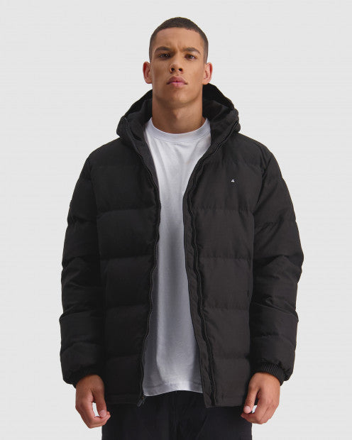 Huffer Mens Classic Down Jacket Black - Stencil