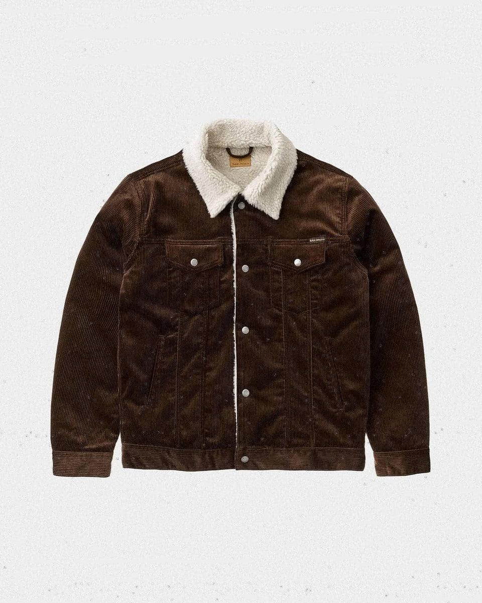 Nudie Bonny Corduroy Pile Jacket Brown - Stencil