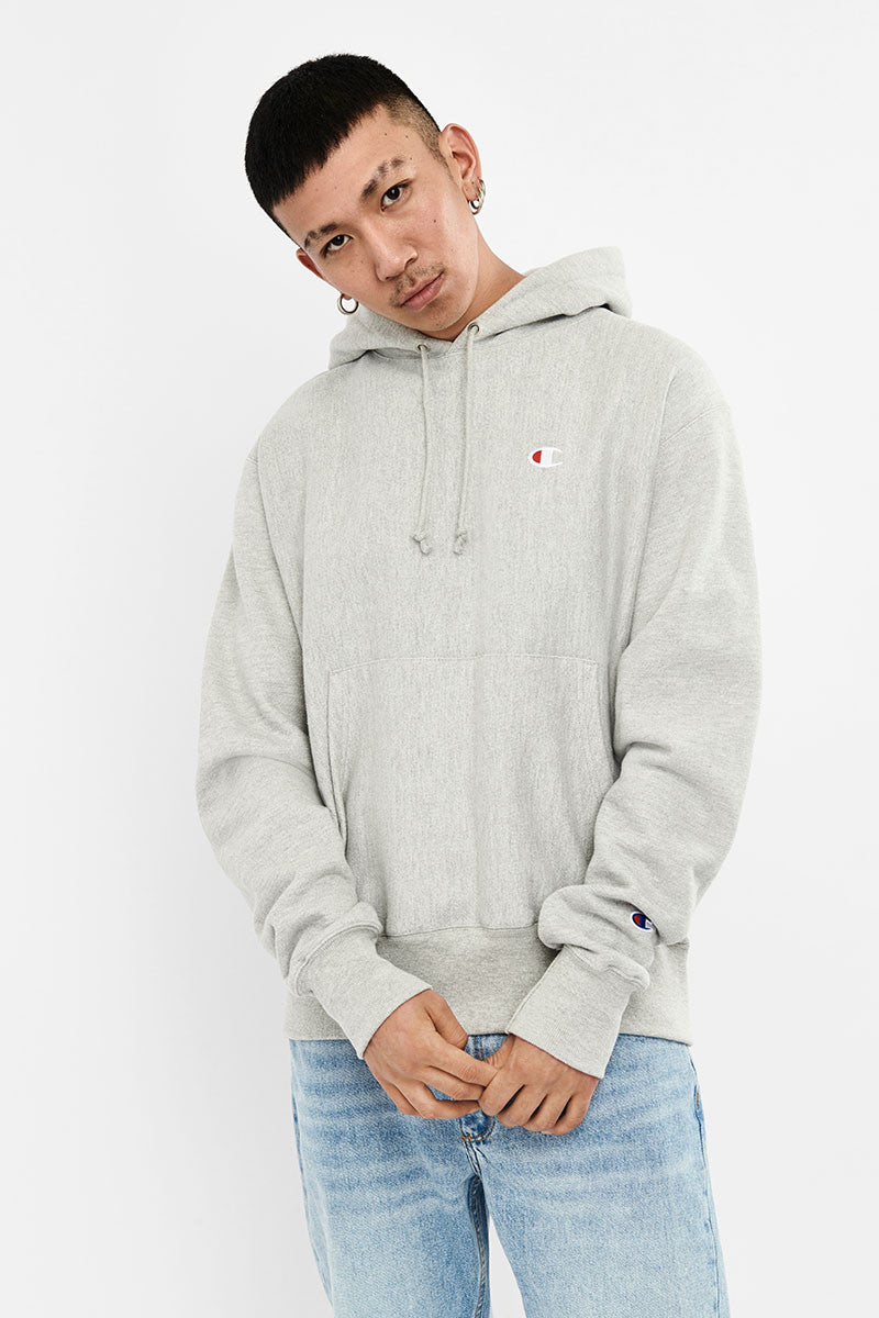 Champion Reverse Weave Hood Grey Heather - Stencil
