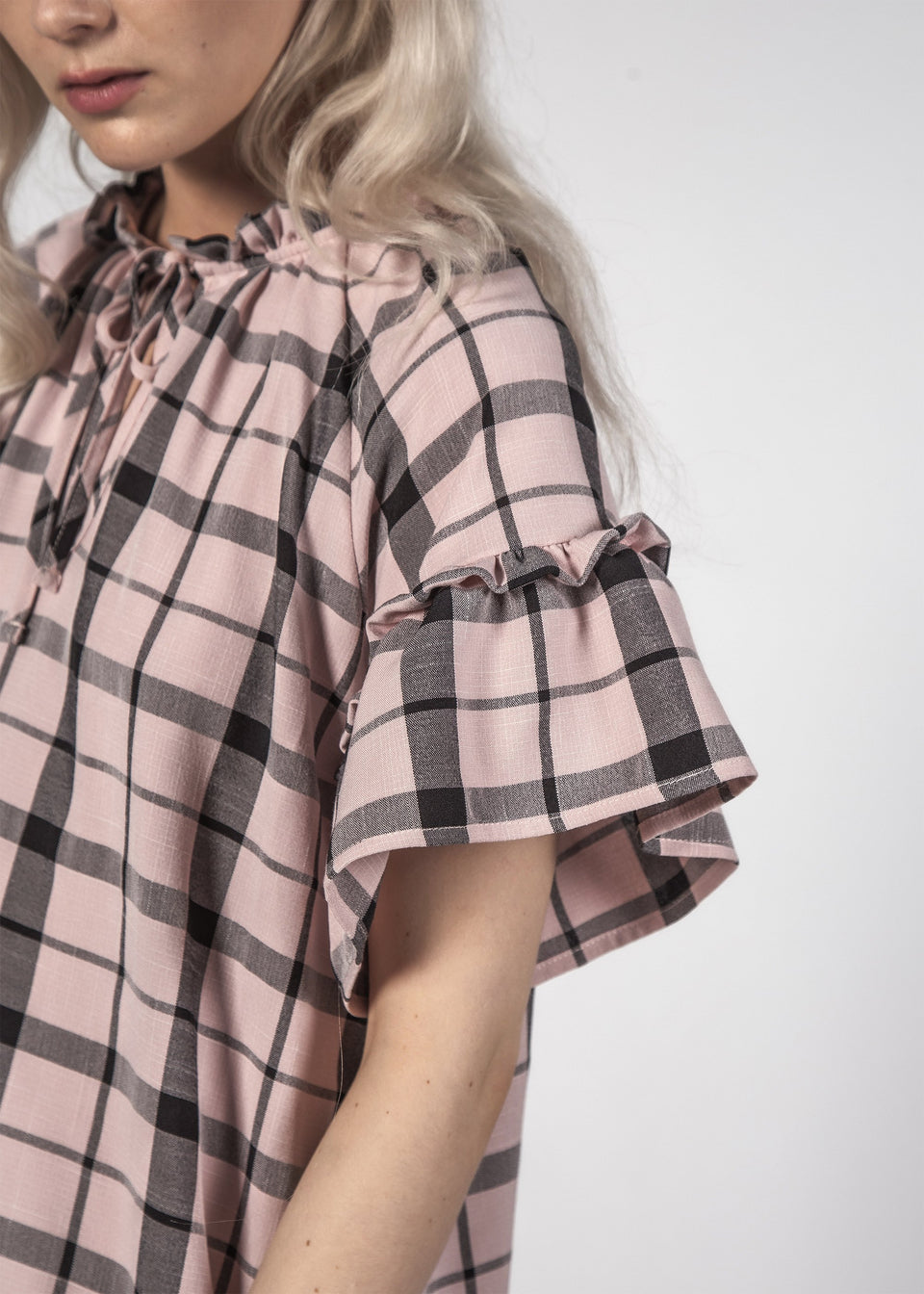 Thing Thing Evie Dress Pastel Check - Stencil