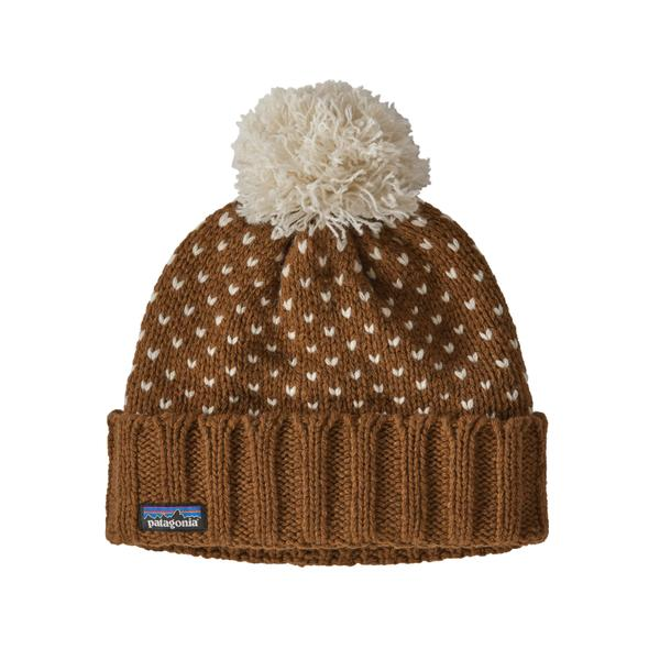 Patagonia Snowbelle Beanie Simple Dot Knit Wood Brown