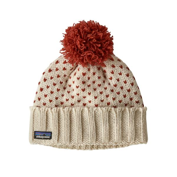 Patagonia Snowbelle Beanie Simple Dot Knit Hot Ember