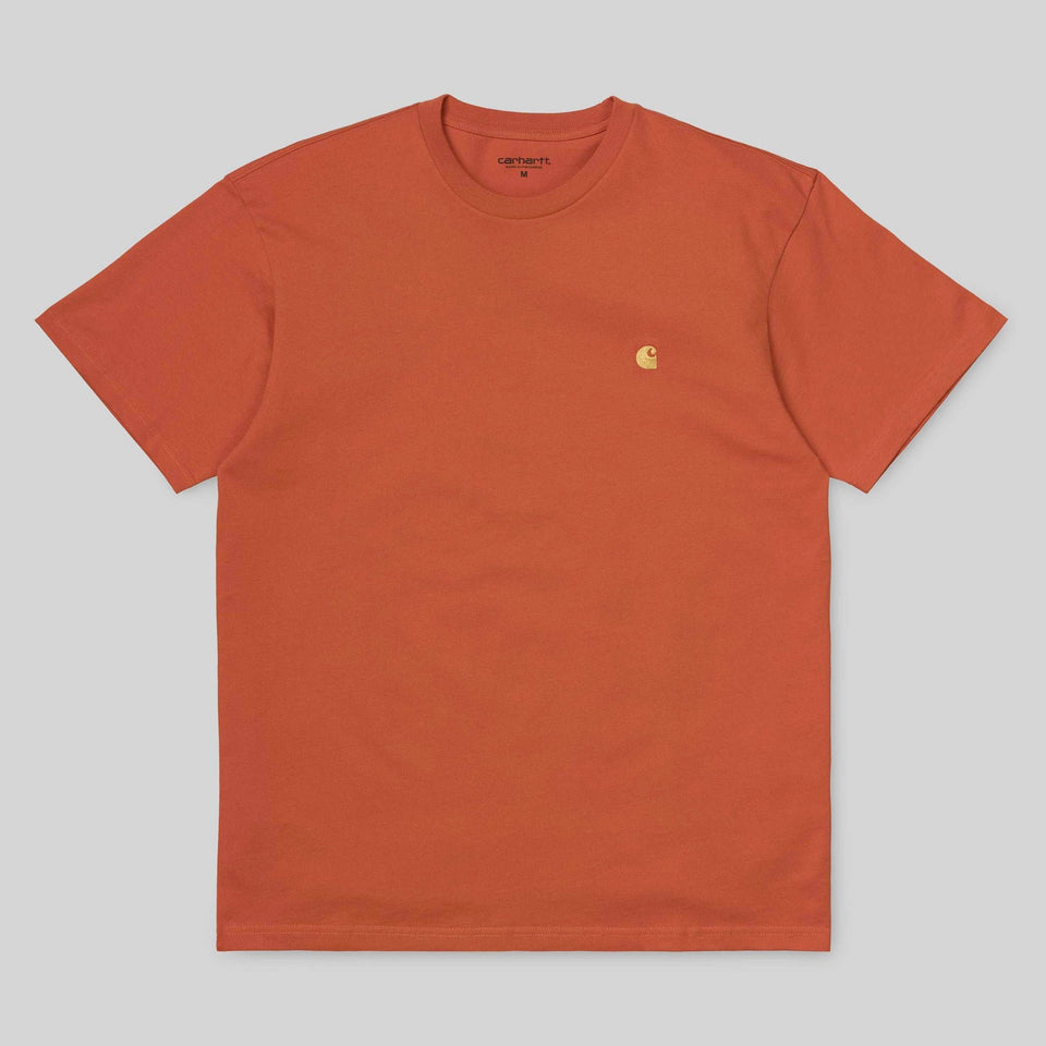 Carhartt Short Sleeve Chase T Shirt Pepper/ Gold - Stencil