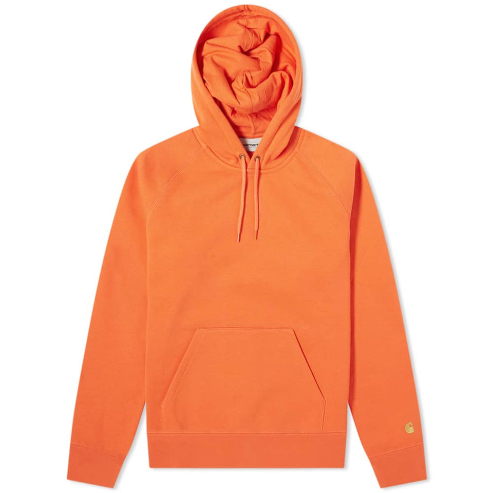 Carhartt Hooded Chase Sweat Pepper/ Gold - Stencil