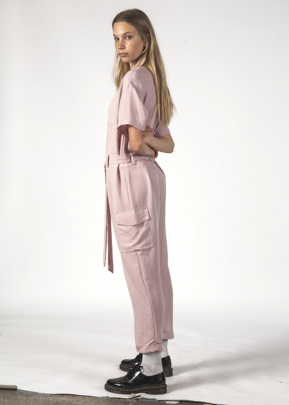 Thing Thing Raffy Jumpsuit Dusty Pink Linen - Stencil