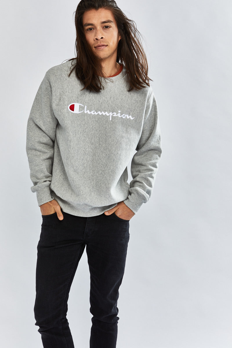 Champion Reverse Weave Crew with Script Grey Heather - Stencil