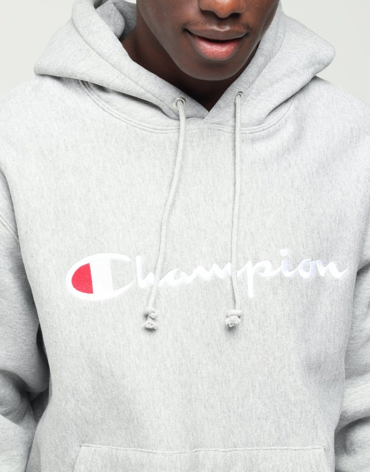 Champion Reverse Weave Hood with Script Grey Heather - Stencil