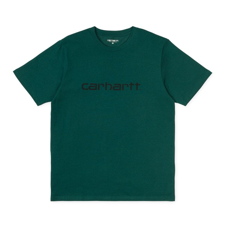 Carhartt Short Sleeve Script T Shirt Dark Fir/Black - Stencil