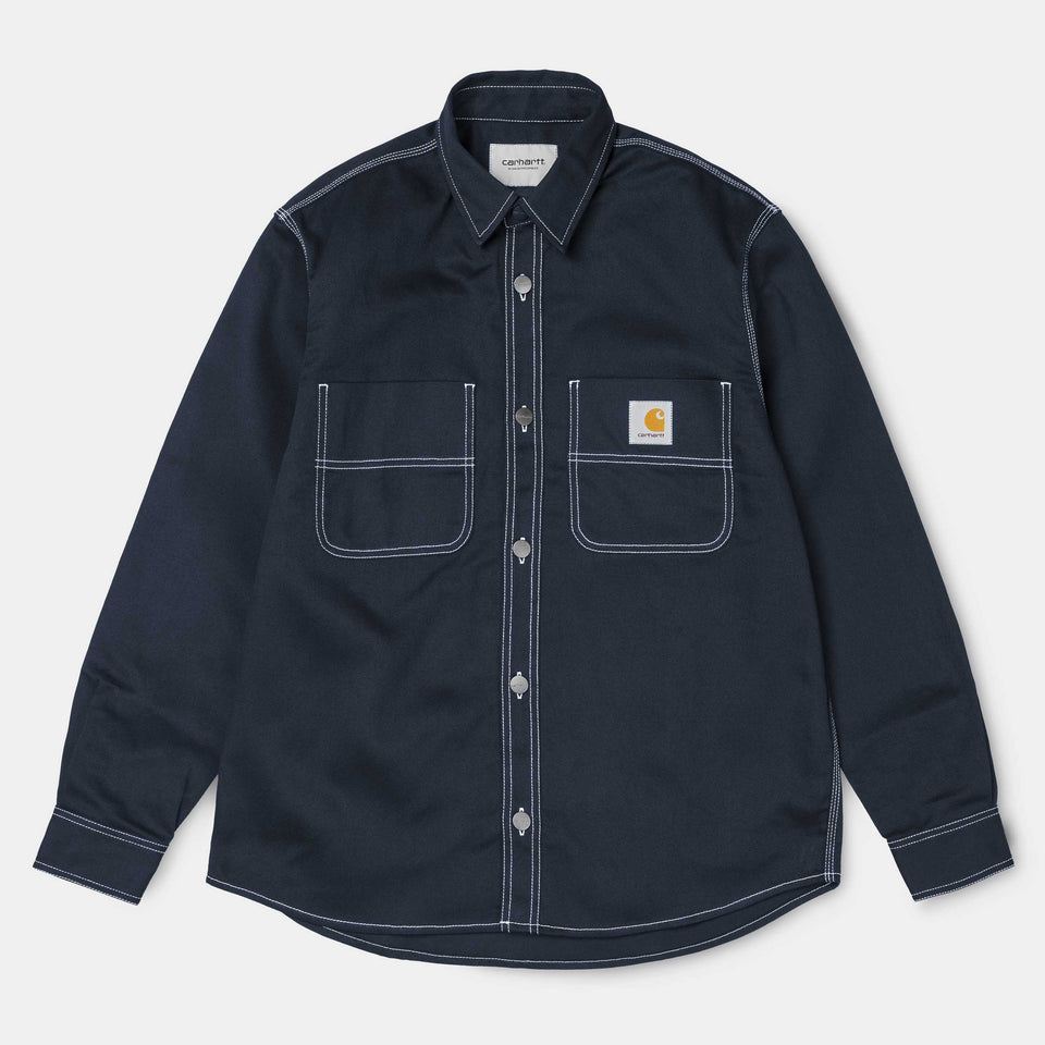 Carhartt Chalk Shirt Jacket Dark Navy Rigid