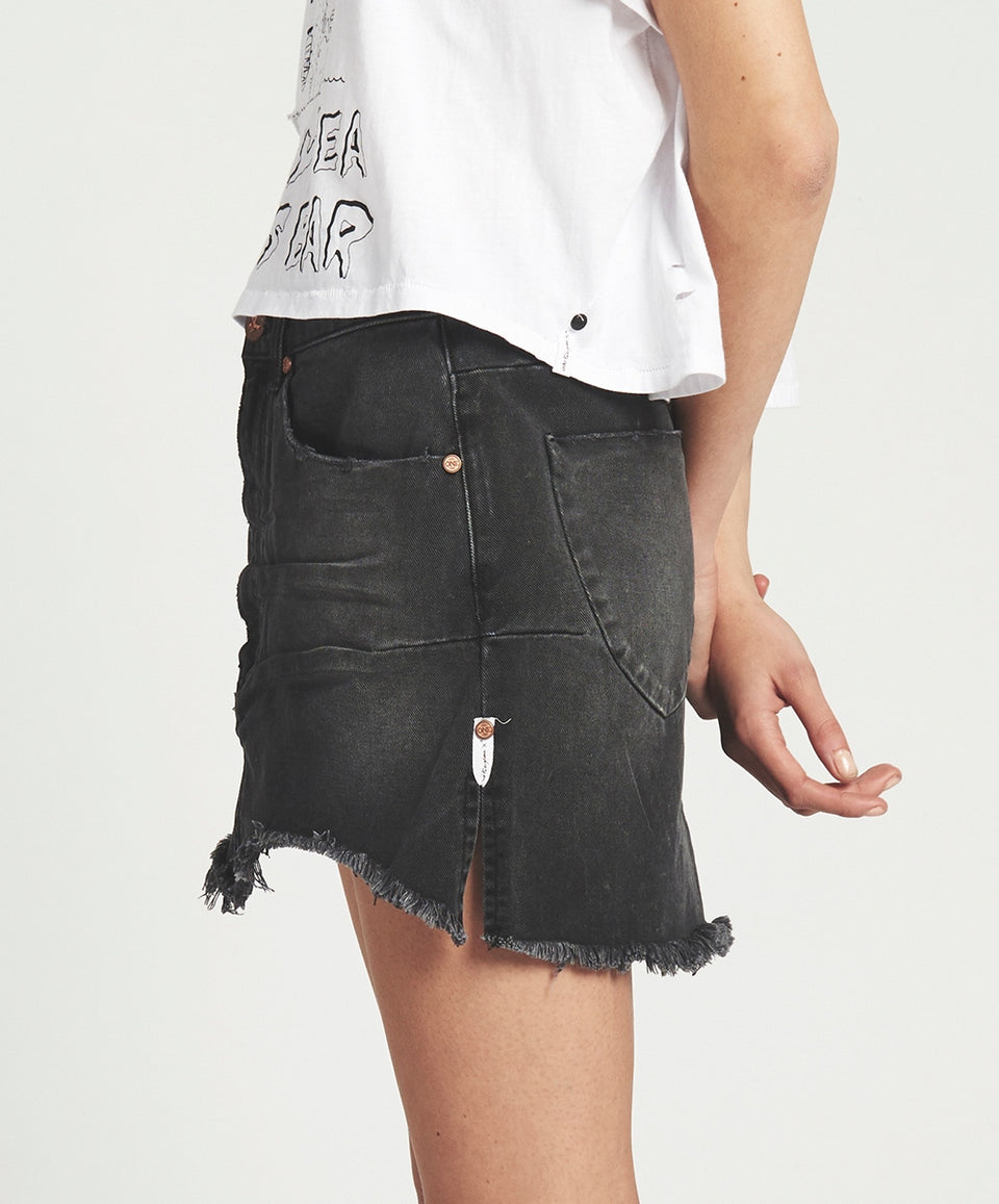 One Teaspoon Black Anchor Vanguard Denim Skirt