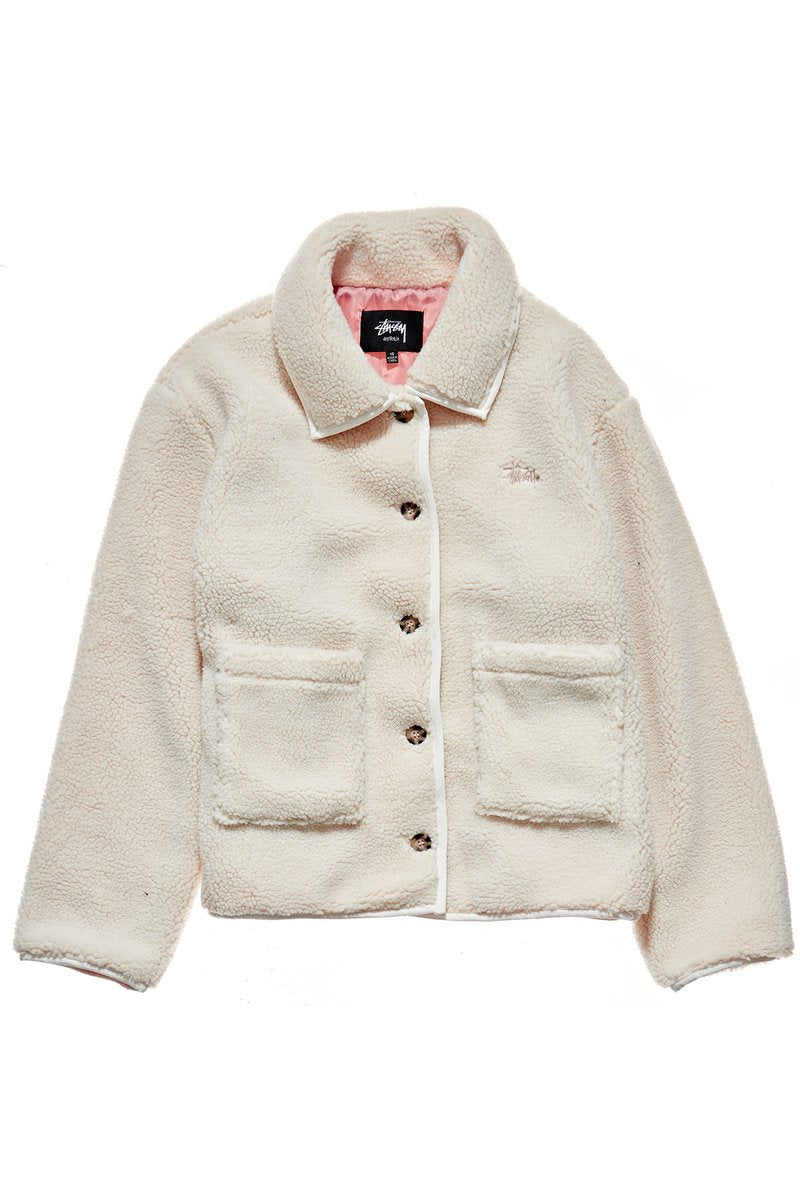Stussy Graffiti Sherpa Coaches Jacket White Sand