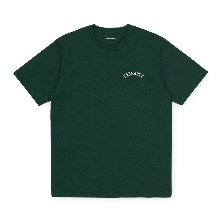 Carhartt S/S University Script Tee Shirt Bottle Green / White