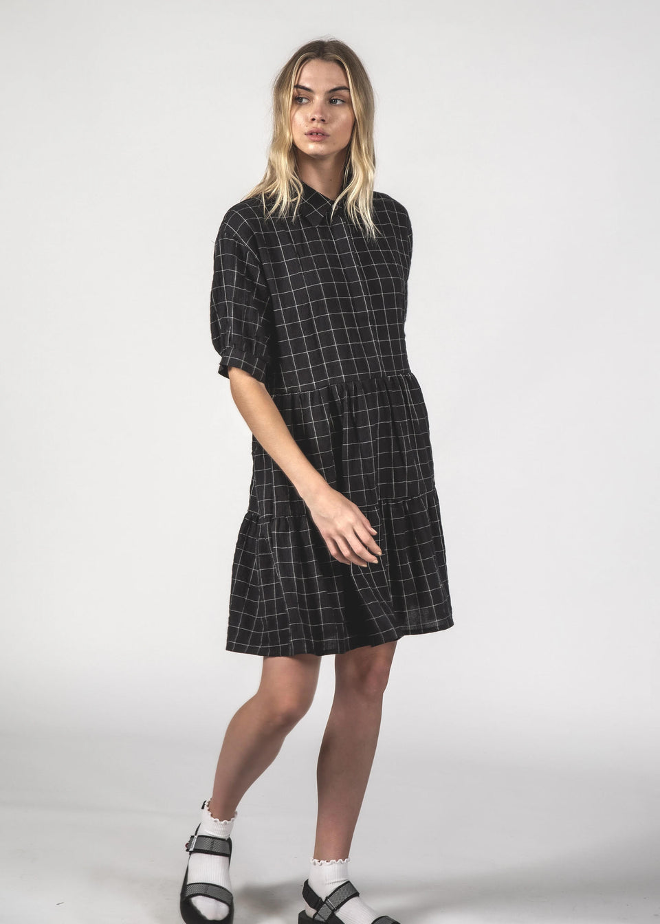Thing Thing Nova Dress Black Grid
